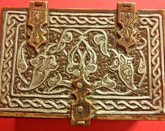 Small Levantine  Qran  Box in Silver Niello and Brass