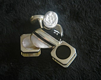 Fine Art Deco Style Sterling Silver, Onyx and Mother of Pearl Gentleman's Armorial Cufflinks and Shirt Studs.