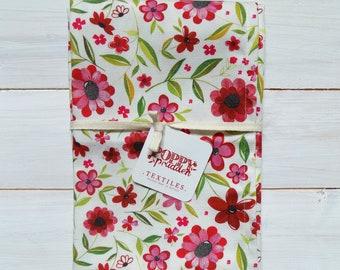 Cotton Tea Towel - Red Floral