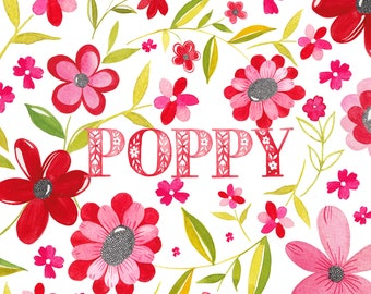 Red Poppy Flower Name Print