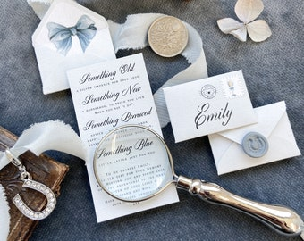 Bride to be Gift - Wedding Gift for Bride -  Something Old, New, Borrowed and Blue Wedding Keepsake Gift. Includes silver sixpence.