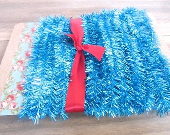 Miniture Wired Blue Tinsel Trim Vintage Style White Tinsel Trim