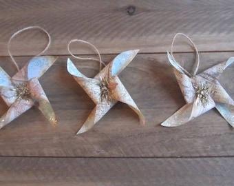 Set Of Three Vintage Style Handmade Glittery Pinwheel Ornaments Christmas Ornaments Christmas Ties Package Ties Decorations
