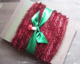 5 Yards Red Wired Mini Tinsel Silver Miniature Red Tinsel Trim Vintage Style Tinsel Trim 5 Yards