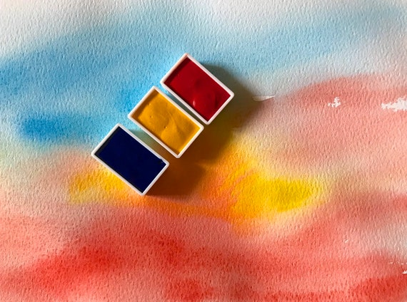 Traditional Handmade Watercolour/Watercolor Paints: Set of 3 Full Pans Primary Colours 2. Cerulean Blue Cadmium Yellow French Vermilion Deep