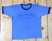Vintage 60s 70s CF Martin Co Guitar Company Distressed Thread Bare Blue Ringer T Shirt - Small