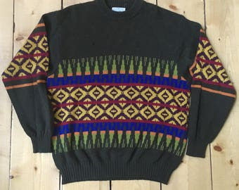 b03f9eacdc5 Vintage 80s 90s United Colors of Benetton Shetland Wool Southwest Pattern  Ski Sweater - Made in Italy - Large