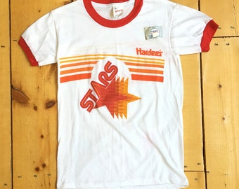645771ba895 Vintage 1982 Deadstock Philadelphia Stars USFL Defunct Football Team  Hardees Promo T Shirt Ringer Tee - Fits Small