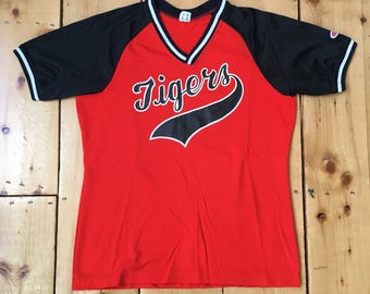Vintage 1970s Lady Champion Orange Tigers Sports Jersey with Mesh Sleeves -  Fits Adult Medium 855d2381d