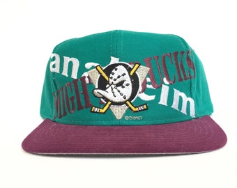 Vintage 90s Anaheim Mighty Ducks NHL Criss Cross Disney Logo Snapback Hat  by Logo 7 141ac888c72b
