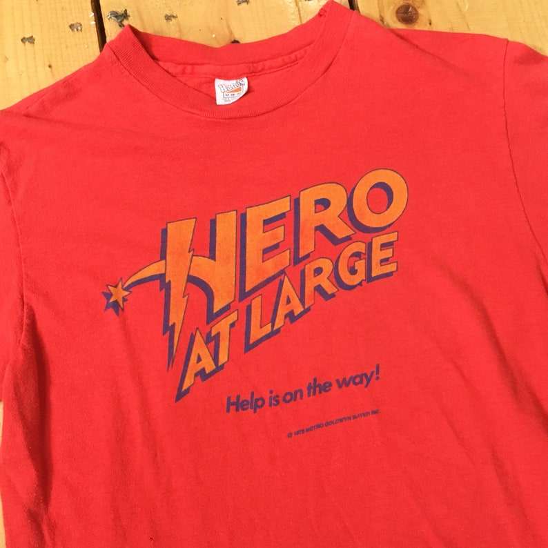 Vintage 19791980 MGM Hero At Large John Ritter Movie Promotional Tee Tshirt on 70s Hanes Fits Small
