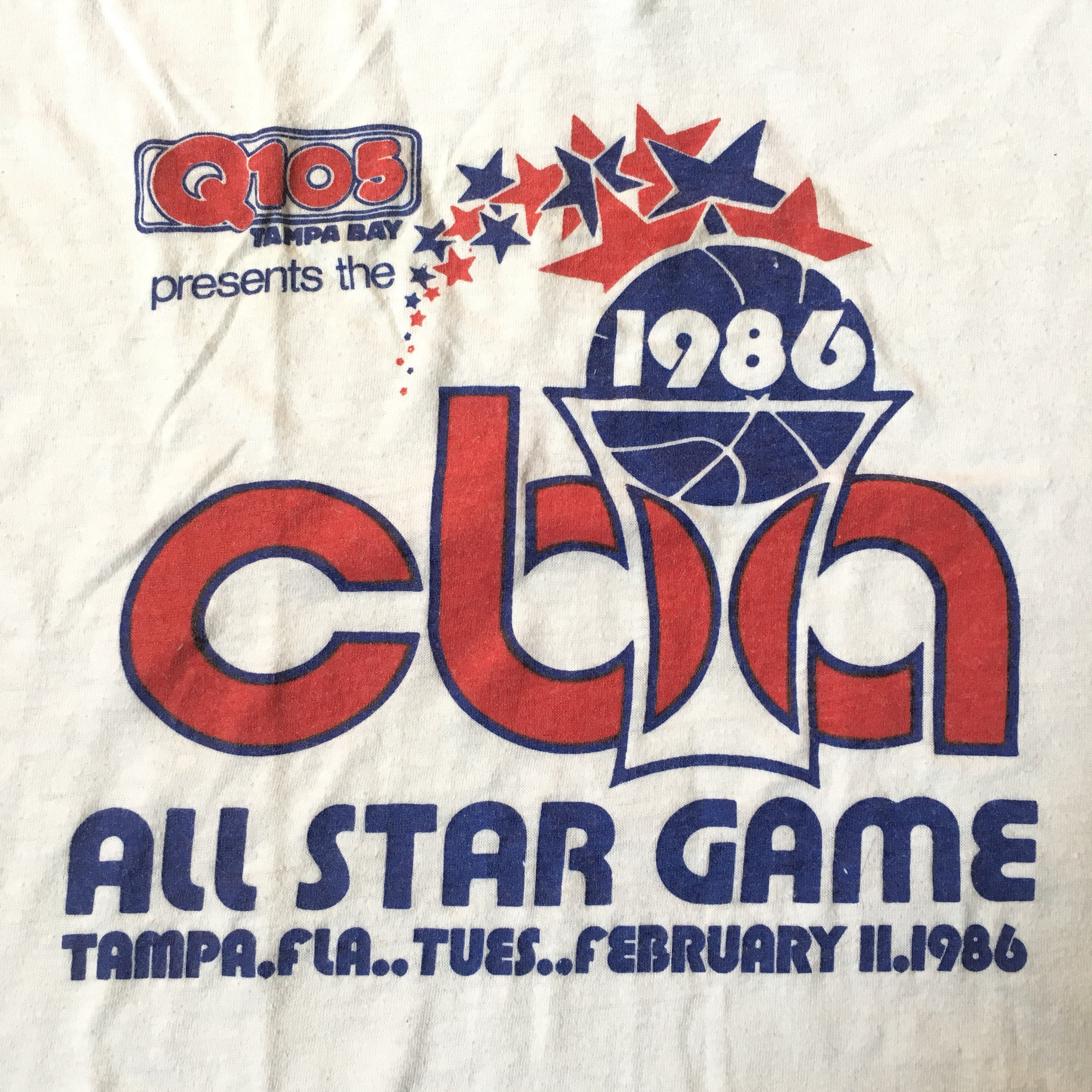 Vintage 1980s Continental Basketball Association Cba 1986 Tampa Bay All Star Game Tee V Neck Tshirt - Fits Medium LongSleeve Tee