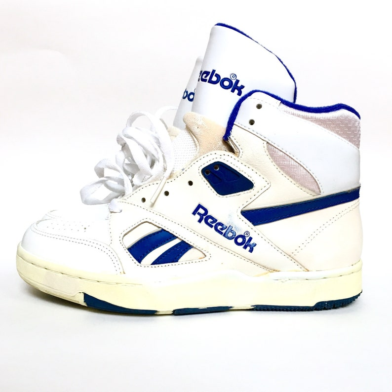 fdf166598b41 Rare Vintage 1980s 80s Reebok Hi Top Blue and White Basketball
