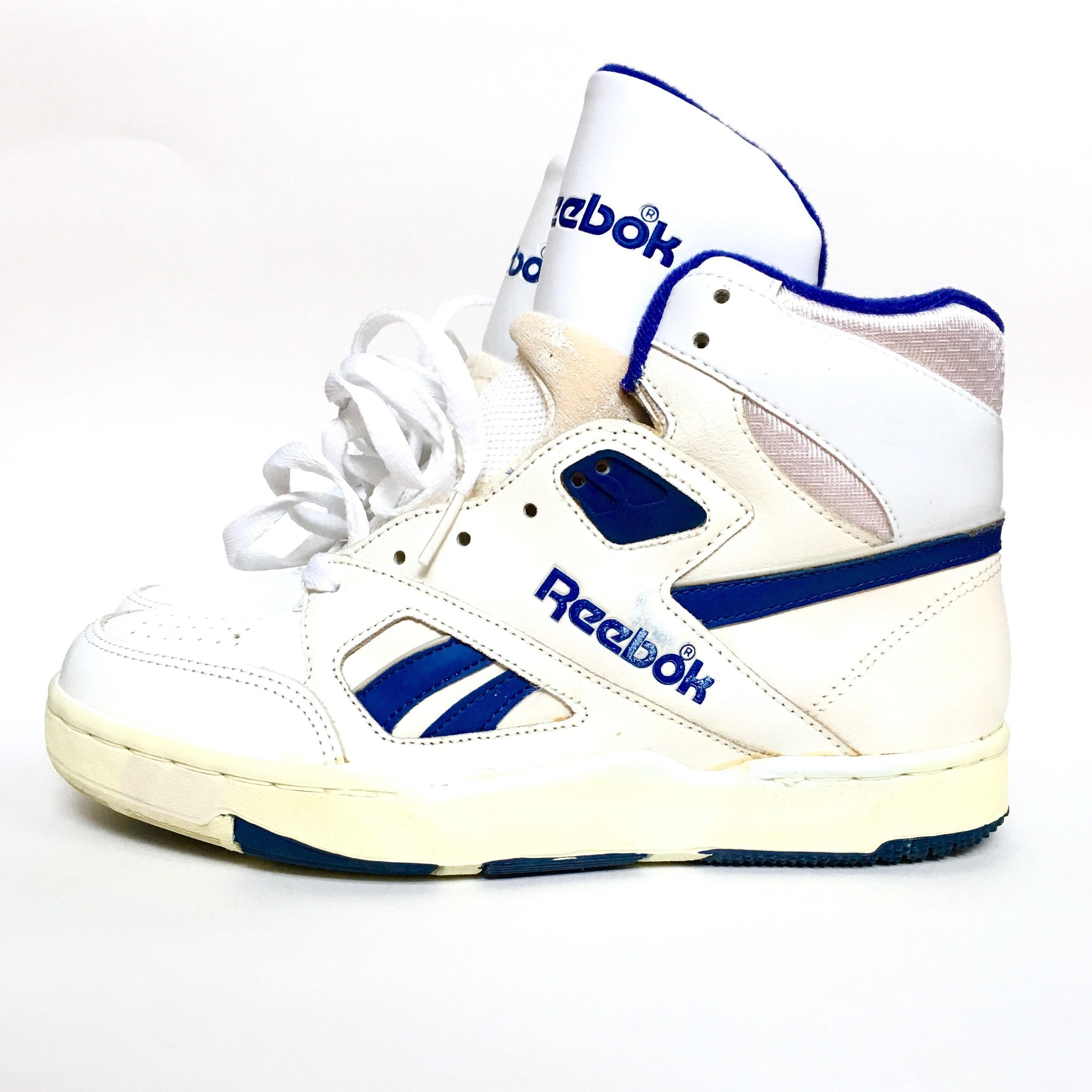 d0f9ffbf74f3b Rare Vintage 1980s 80s Reebok Hi Top Blue and White Basketball Sneakers -  Size 7 US - Model R109KJC
