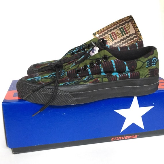Rare Vintage 1980s Converse SKIDGRIP African Print Green Boys Oxford Sneakers Skate Shoes Made in USA Size 5 Women's