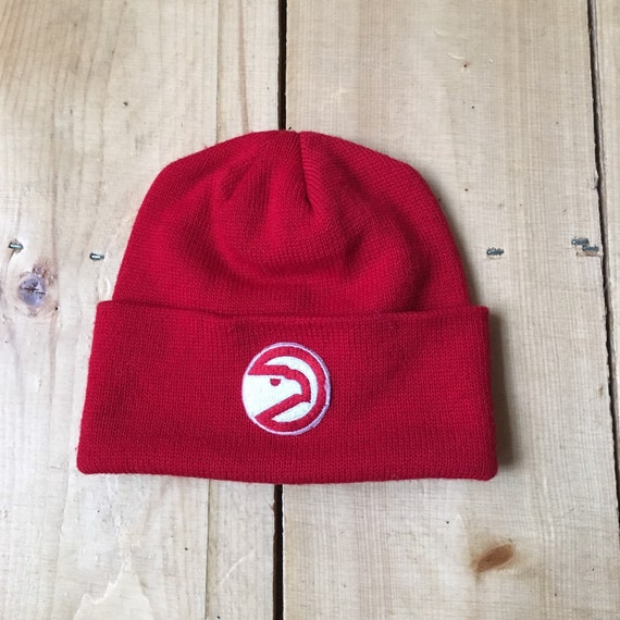 07ecaa61364 Vintage 70s 80s Atlanta Hawks NBA Basketball Knit Winter Hat
