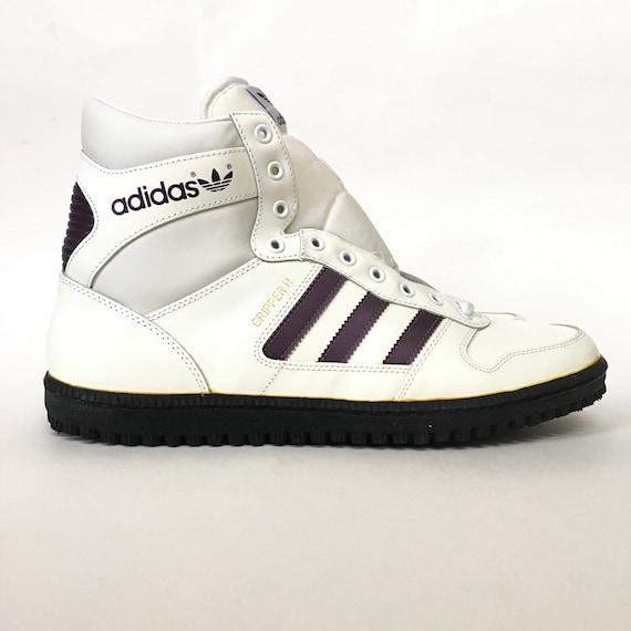 Seltene Vintage 80er Adidas Greifer TS Hallo oben Modell 79061 weiß und lila Streifen Sneakers Deadstock Sz 13