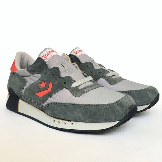 da8a78df4b5 Vintage 1980s Converse Running Sneakers Grey Suede with Orange