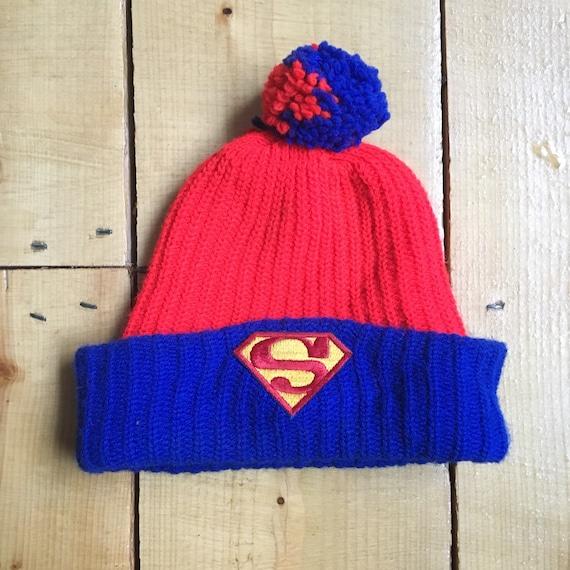 Vintage 1960s 1970s SUPERMAN Comic Cartoon Knit Ski Hat    4d5fad4f27a