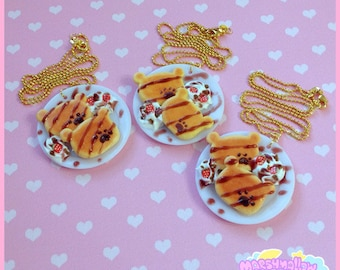Bear pancackes necklace sweet and cute