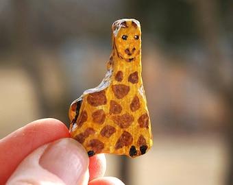 painted rock tiny giraffe
