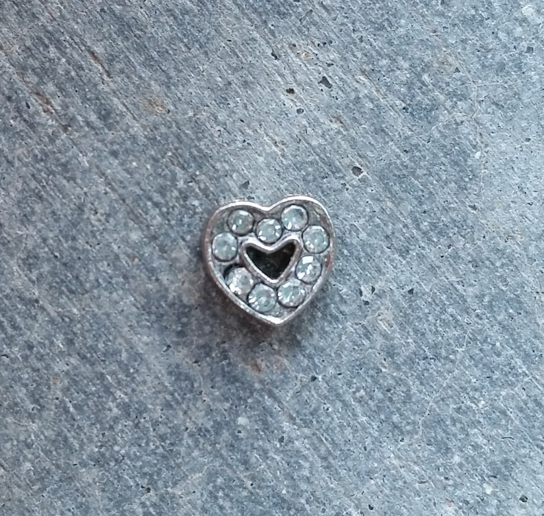 Floating Charm For Glass Memory Lockets Crystal Heart image 0