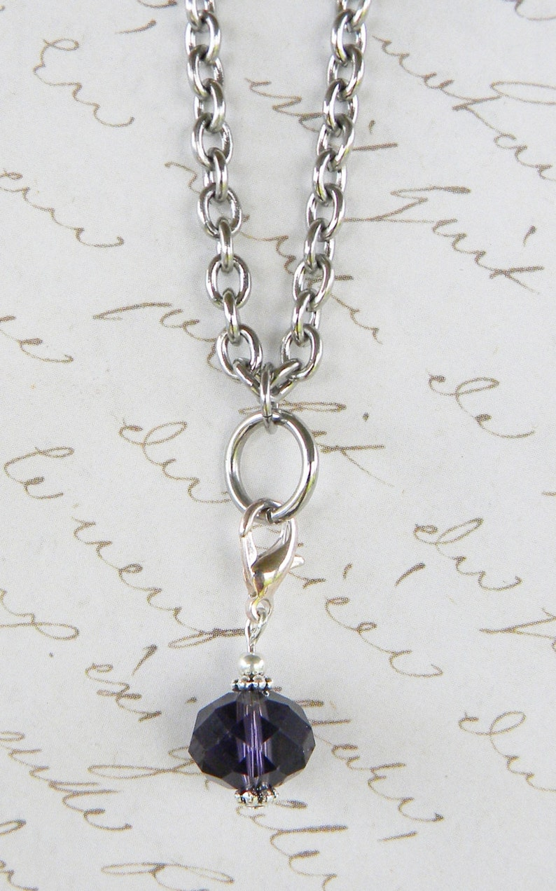 Crystal Dangle Charm For Glass Memory Lockets Amethyst image 0