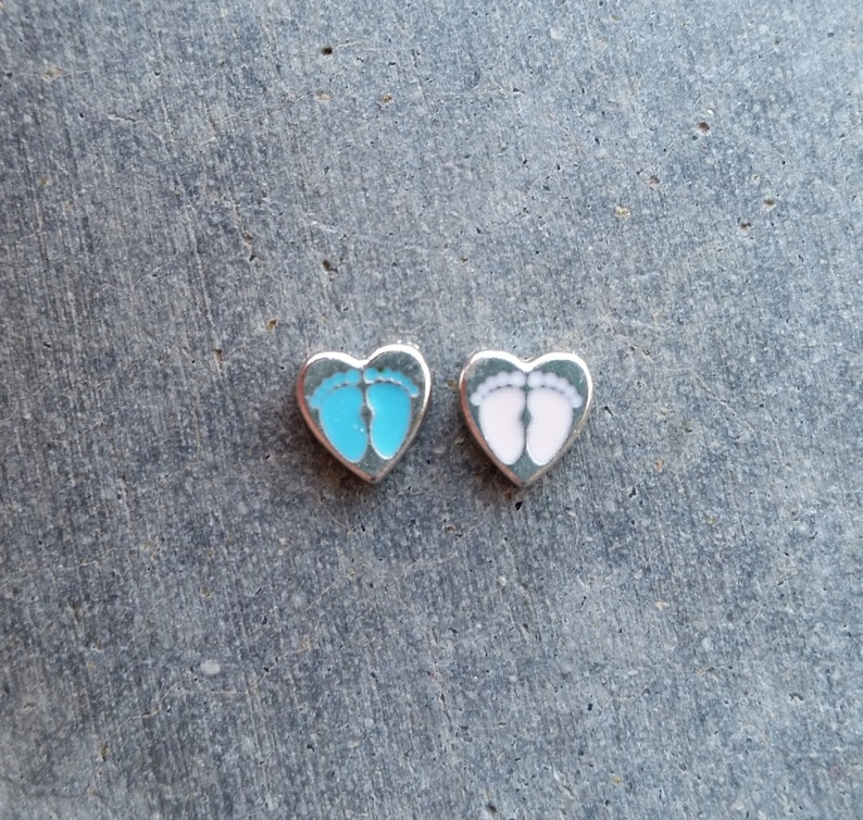 Floating Charm For Glass Memory Lockets Baby Feet image 0