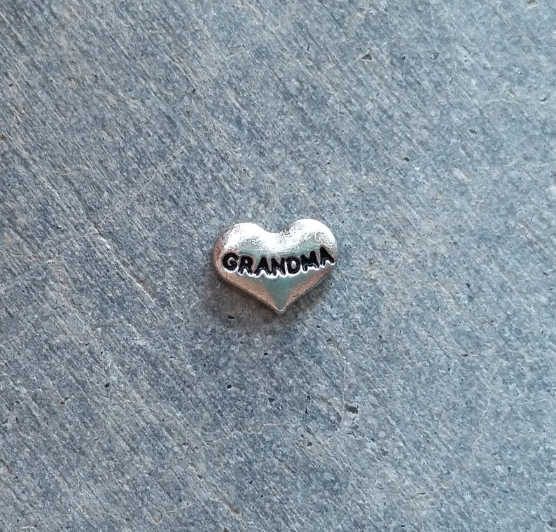 Floating Charm For Glass Memory Lockets Grandma Heart image 0