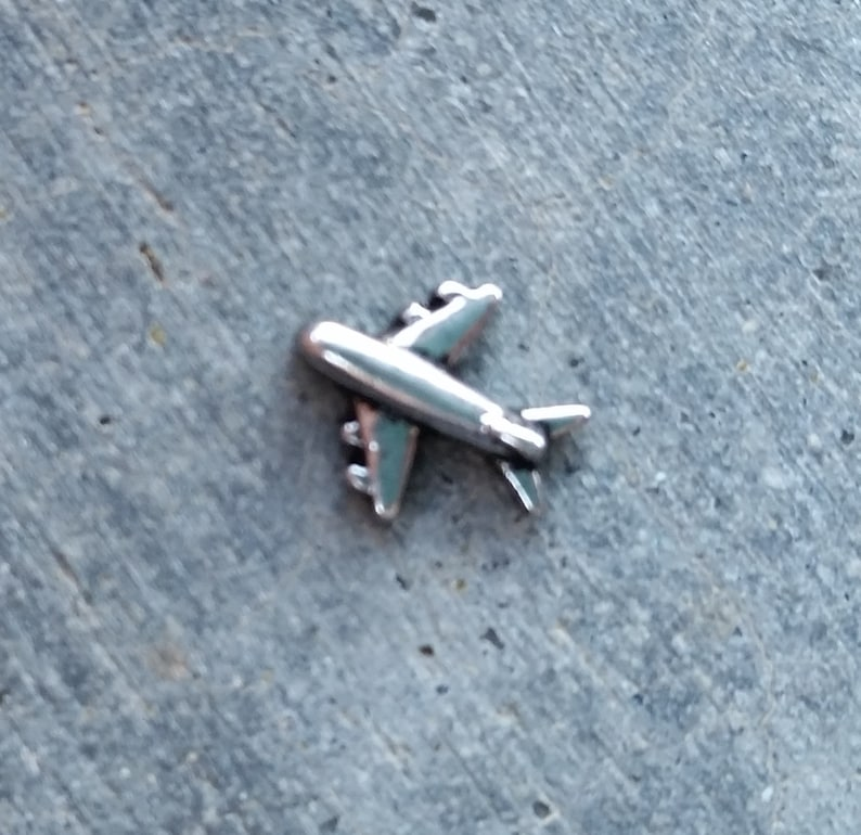 Floating Charm For Glass Memory Lockets Airplane image 0