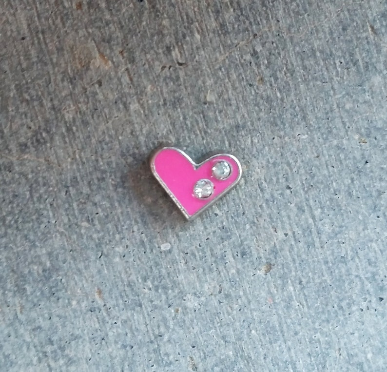 Floating Charm For Glass Memory Lockets Pink Heart image 0