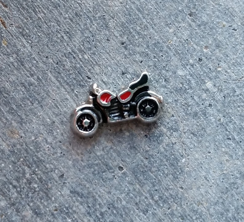 Floating Charm For Glass Memory Lockets Motorcycle image 0