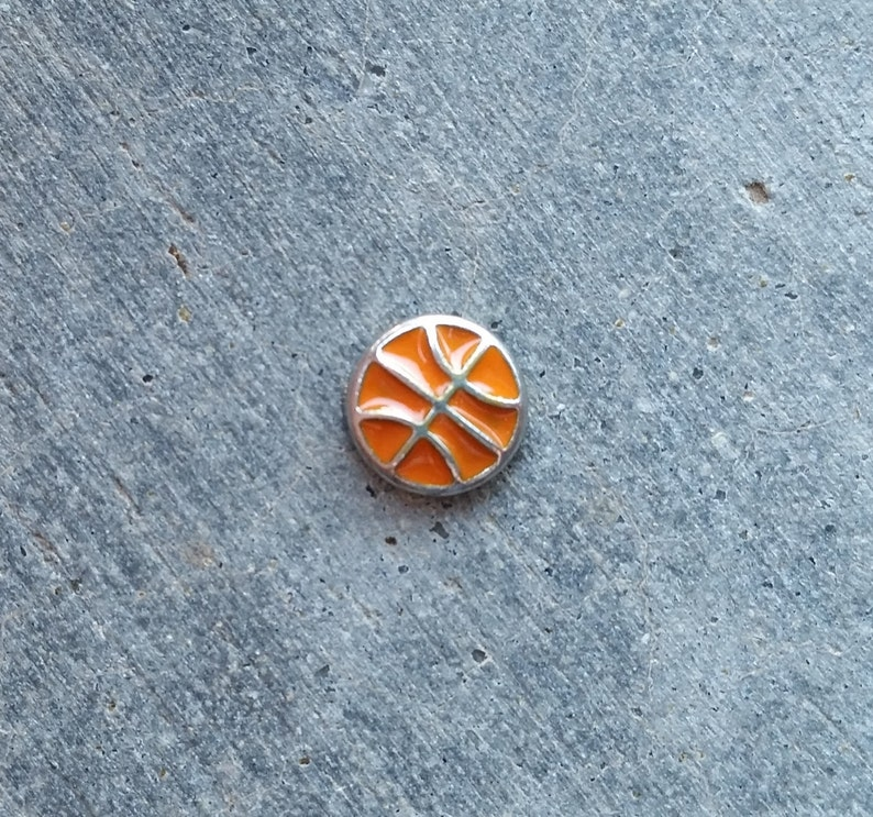 Floating Charm For Glass Memory Lockets Basketball image 0