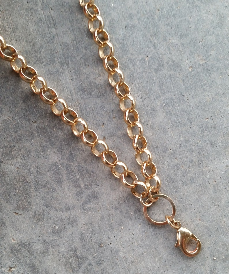 20 Gold Rolo Chain for Floating Lockets Vacuum Plated image 0