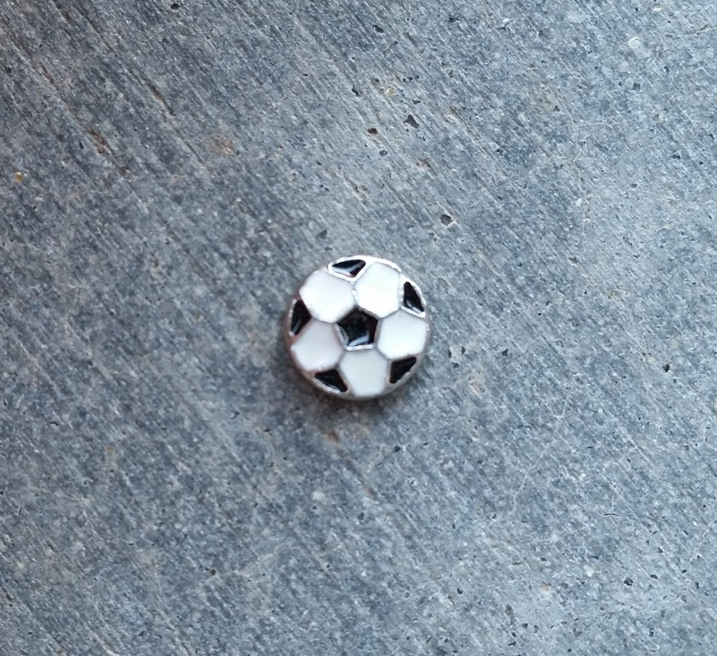 Floating Charm For Glass Memory Lockets Soccer Ball image 0