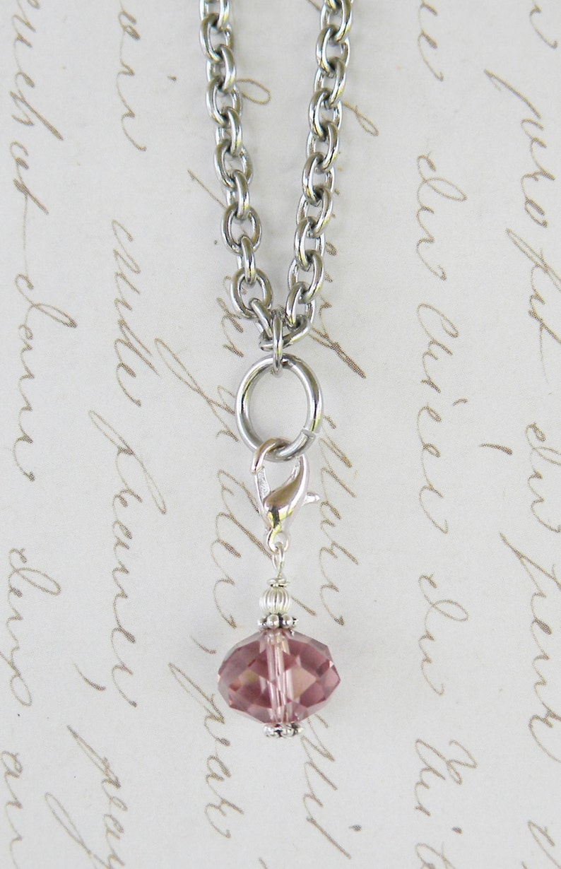 Crystal Dangle Charm For Glass Memory Lockets Vintage Lt. image 0