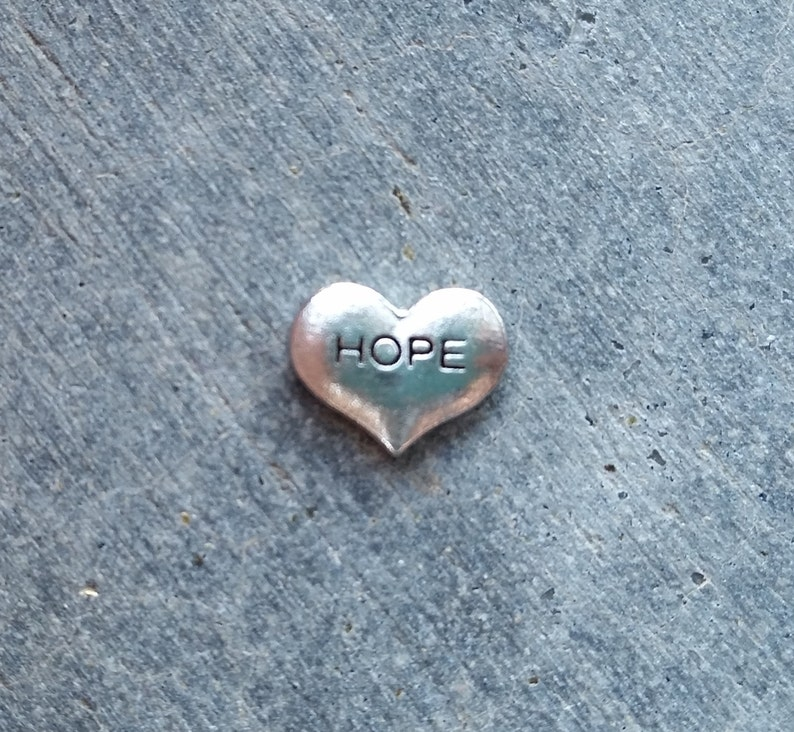 Floating Charm For Glass Memory Lockets Hope Heart image 0