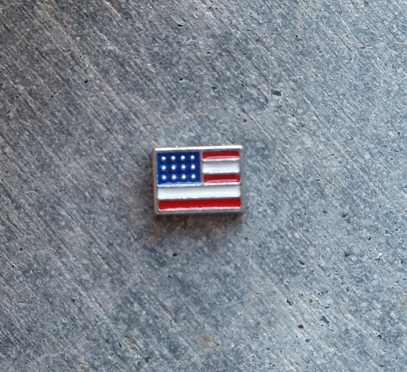 Floating Charm For Glass Memory Lockets American Flag image 0