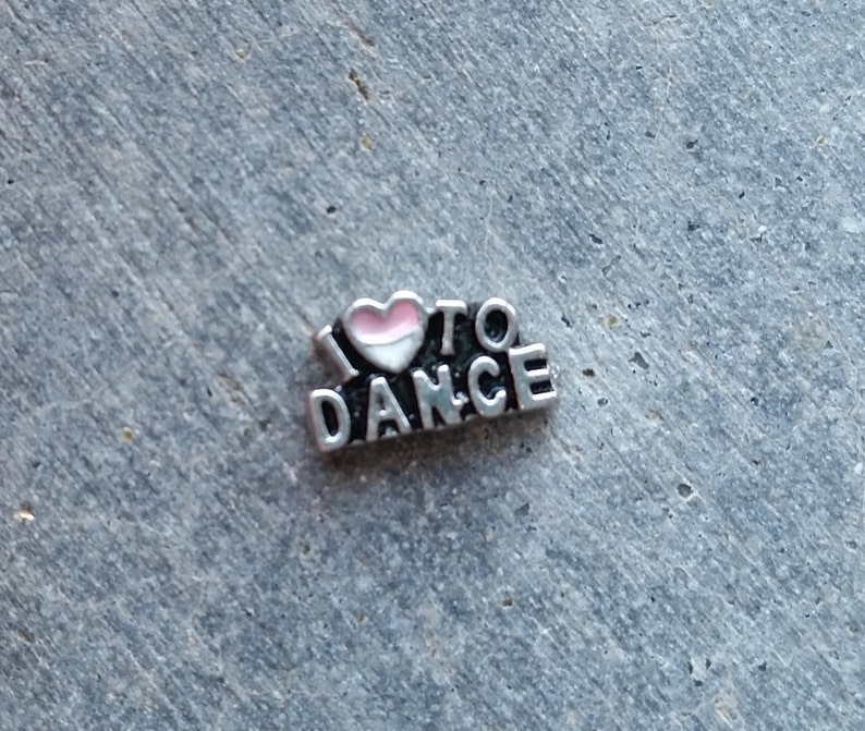 Floating Charm For Glass Memory Lockets I Love to Dance image 0
