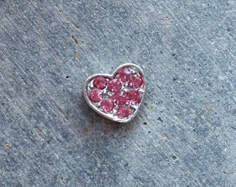 Floating Charm For Glass Memory Lockets- Pink Crystal Heart