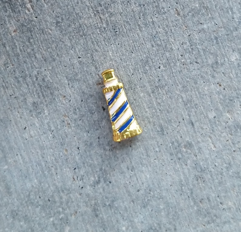 Floating Charm For Glass Memory Lockets Gold Lighthouse image 0