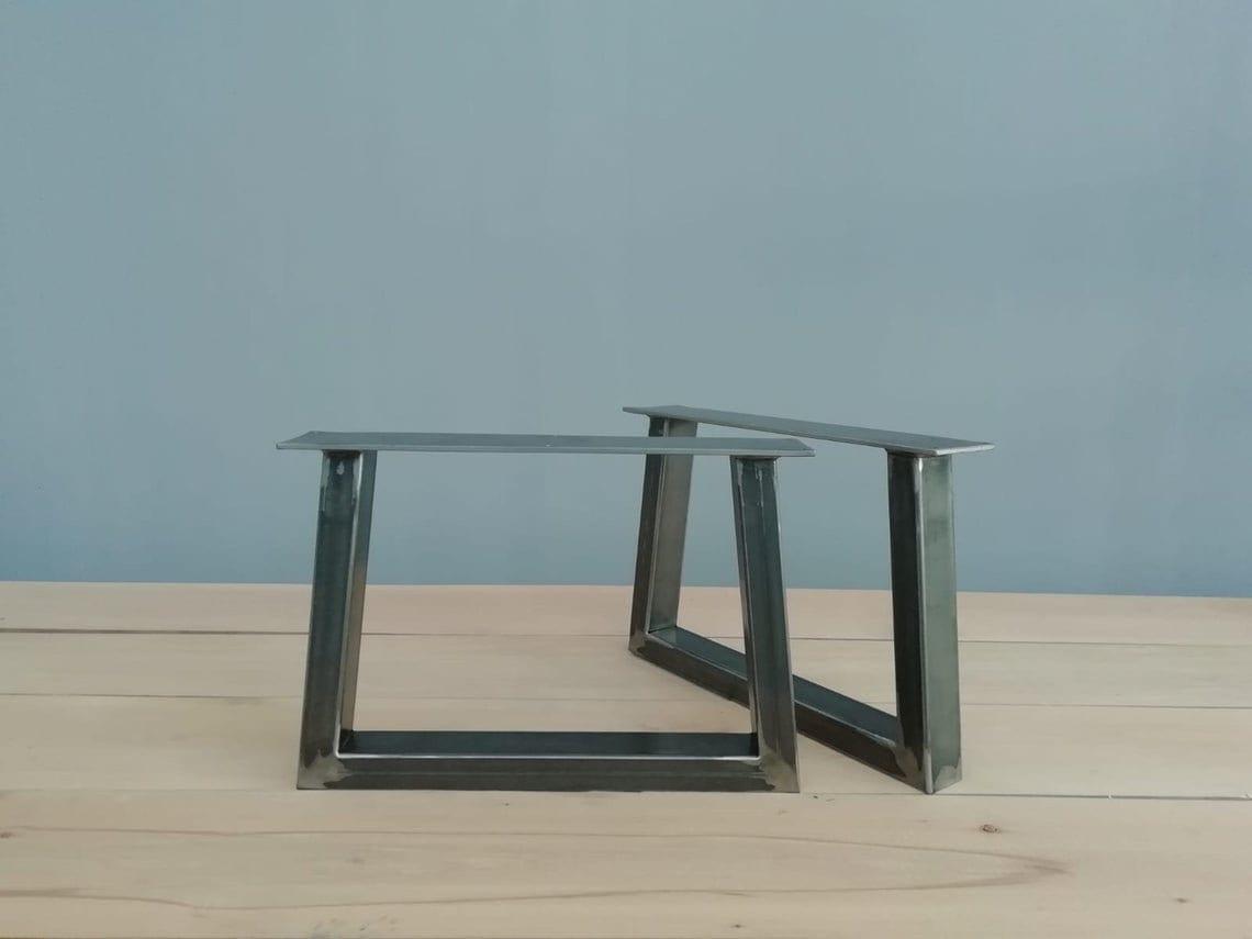 "Metal Coffee Table Legs ,16"" Trapezoid-IN Table Legs,base Width 20""  Set (2)"