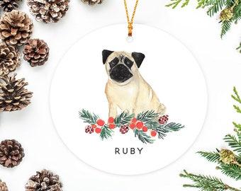 pug ornament personalized christmas ornament pug gift