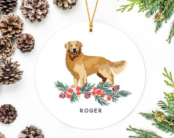 golden retriever ornament with berry branch personalized
