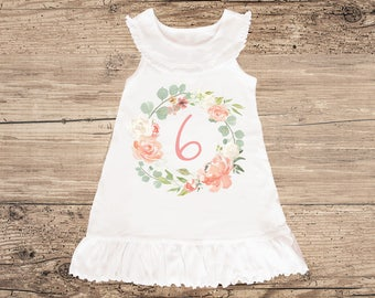 Six Year Old Peach Birthday Dress with Ruffles