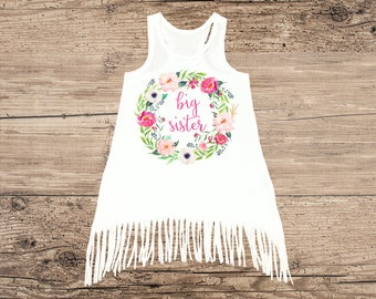 Big Sister Dress, Boho Dress with Flower Wreath