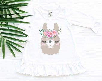 Llama Dress with Ruffles and Flower Crown