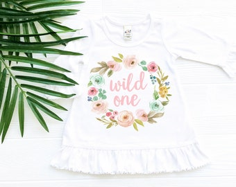Wild One Flower Dress with Ruffles, Toddler Baby Clothes
