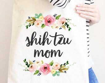 Shih Tzu Mom, Floral Tote Bag for Dog Mom