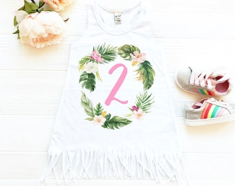 Summer Birthday Dress for Two Year Old, Luau Party